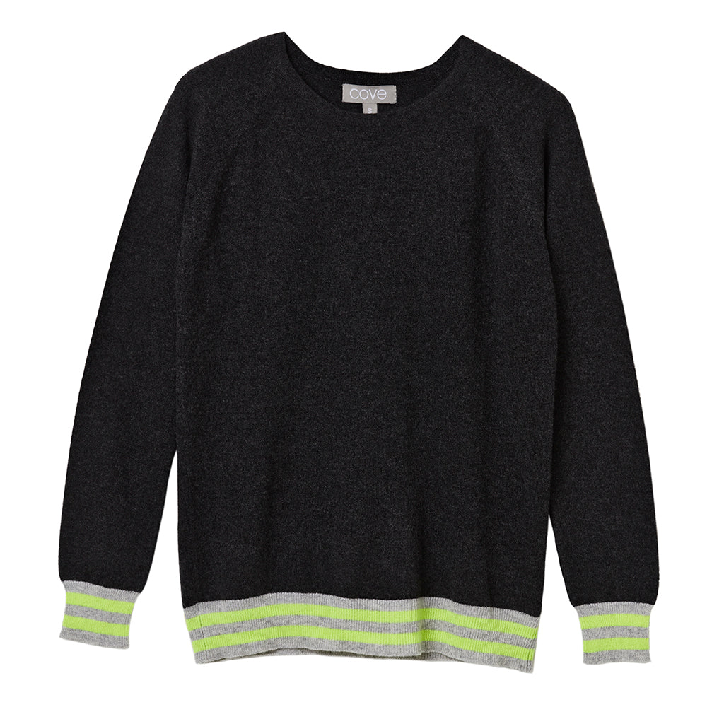 iris cashmere jumper charcoal with 5 neon stripes