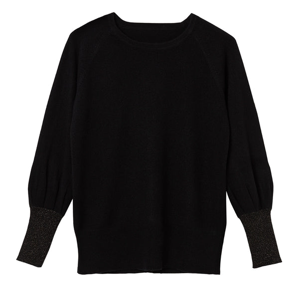 ivy cashmere jumper black with gold cuff