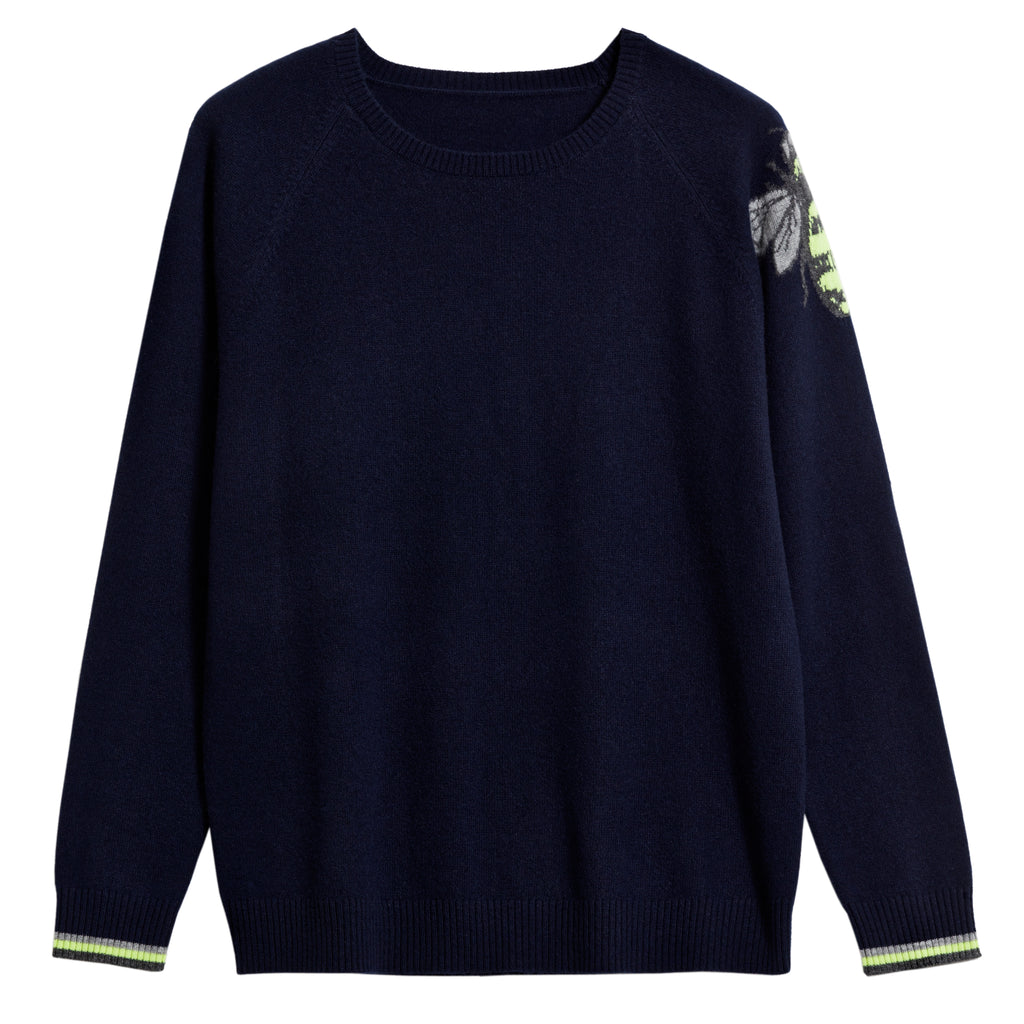 imogen cashmere jumper navy with bee motif
