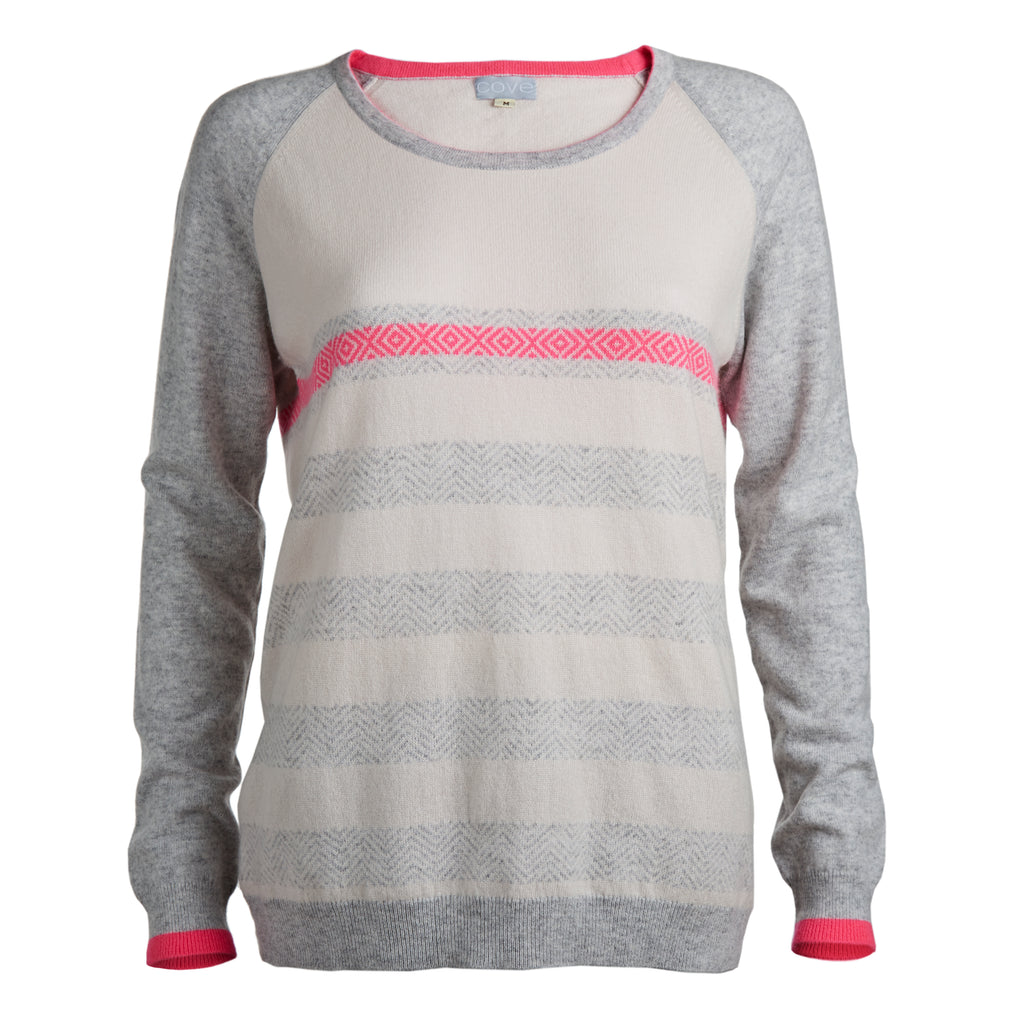jax cashmere jumper grey with pink herringbone