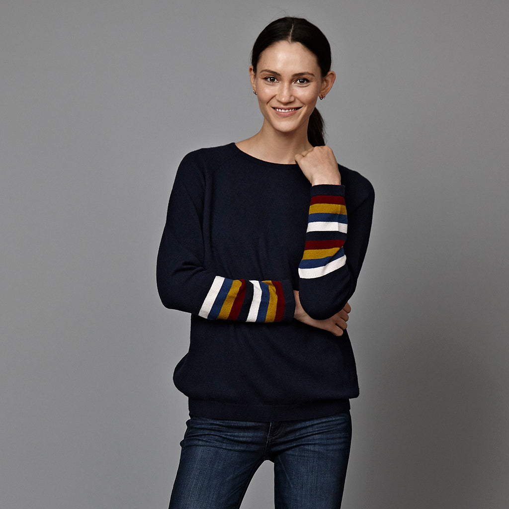 maxine cashmere jumper navy with striped cuff