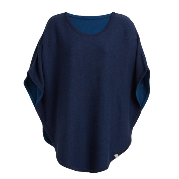flora reversible poncho mooring navy and hoxton blue