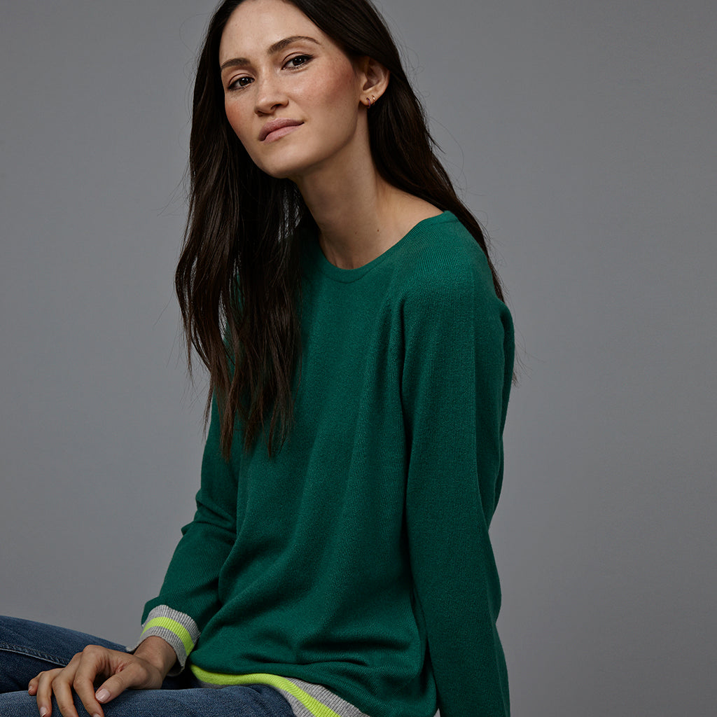 philly cashmere jumper green with neon trim