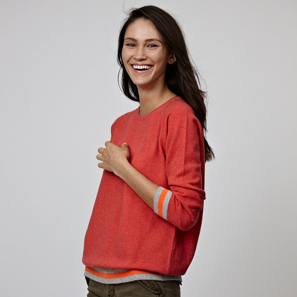 philly cashmere jumper orange with neon trim