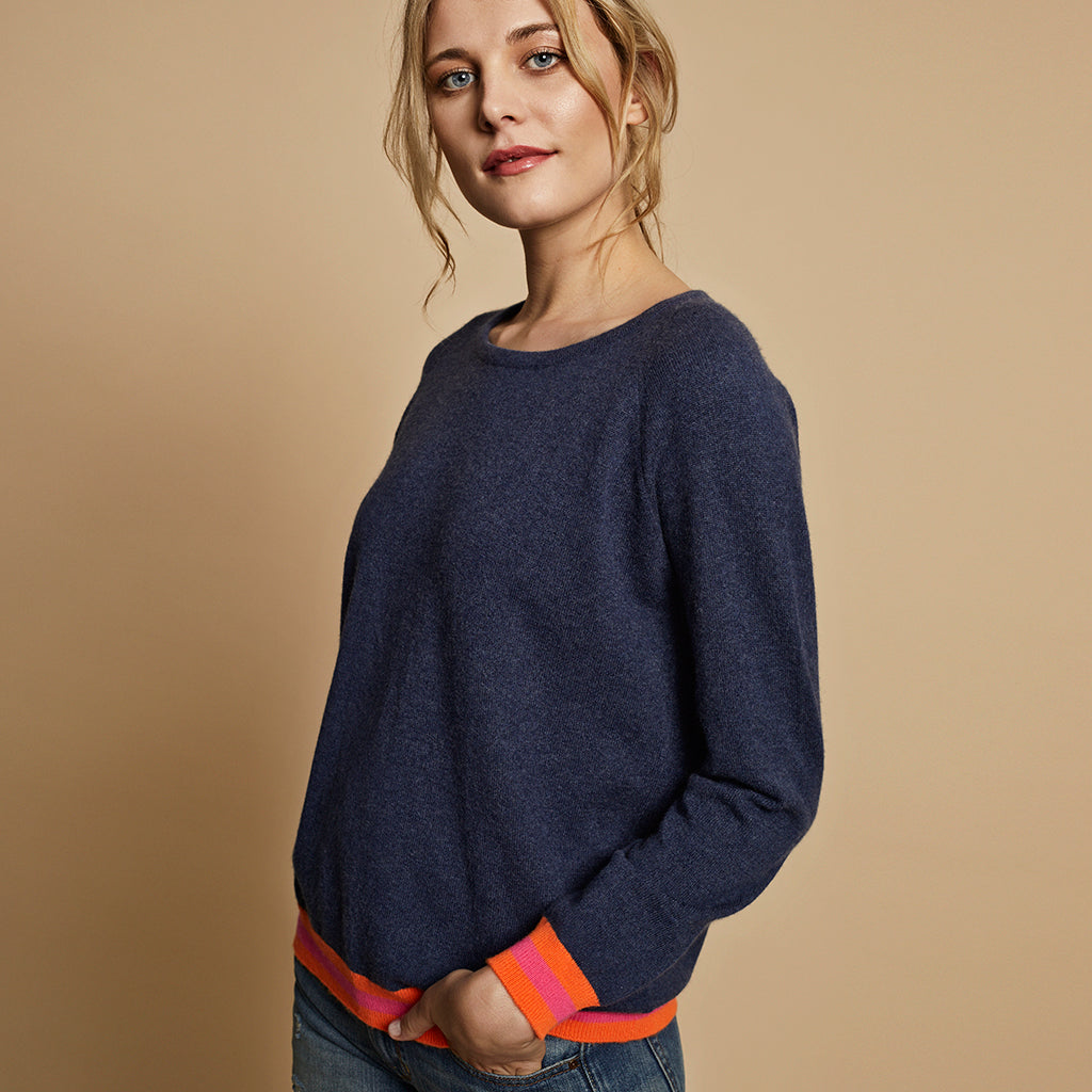 philly cashmere jumper denim with neon trim