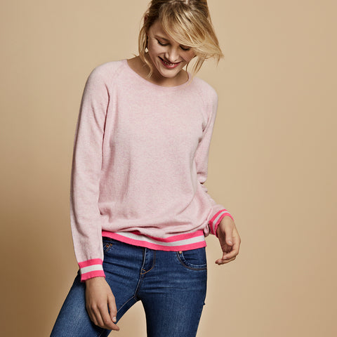 philly cashmere jumper pink with neon trim