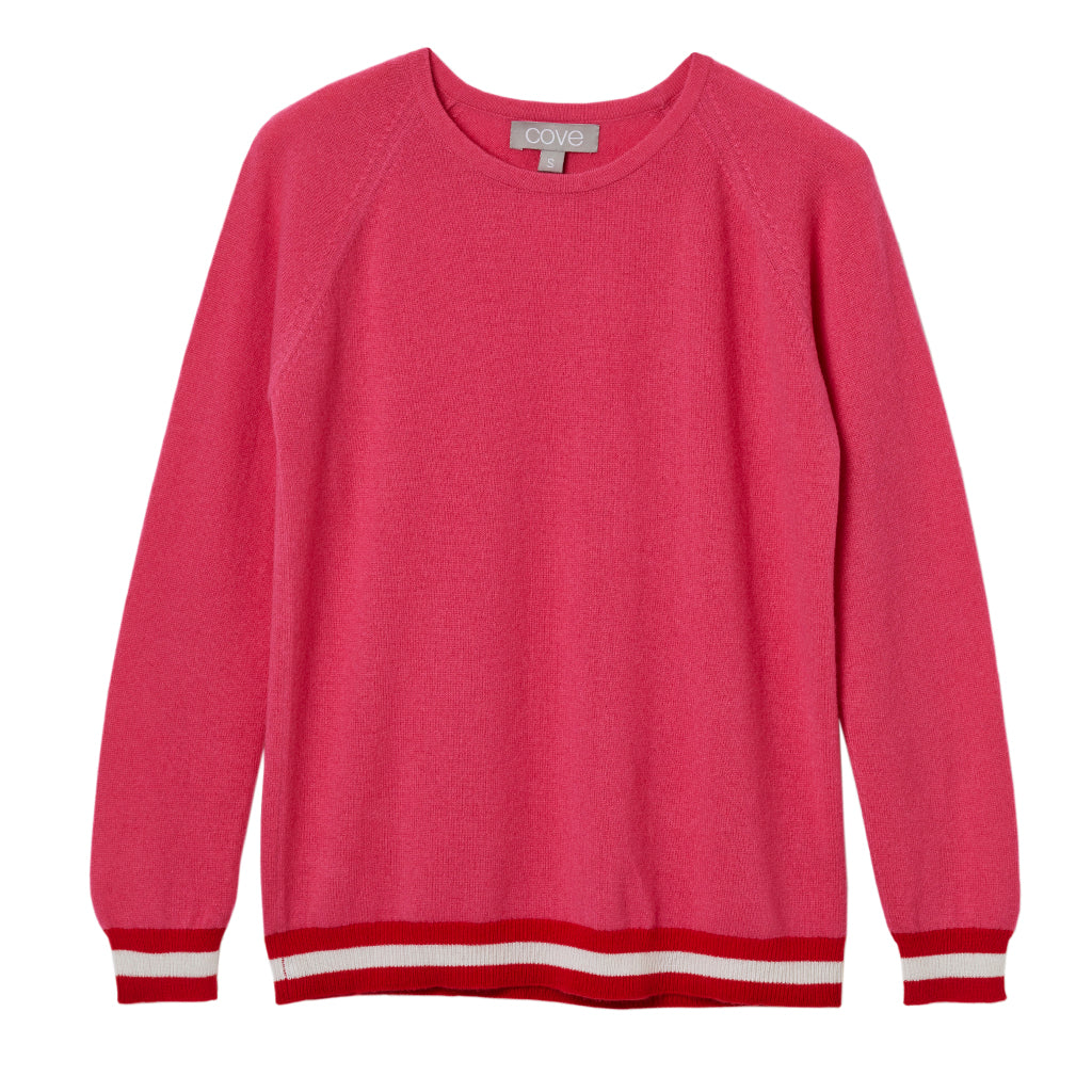 be684c70a9 philly cashmere jumper shocking pink with neon trim