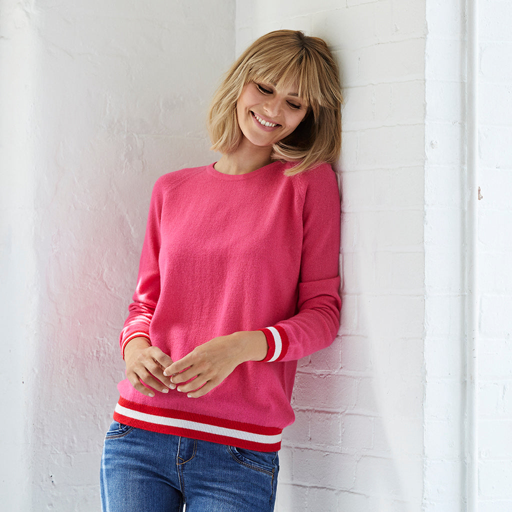 philly cashmere jumper shocking pink with neon trim
