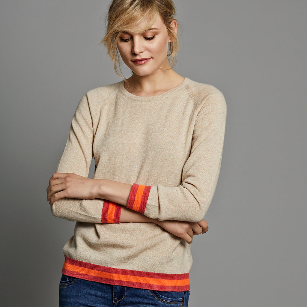 philly cashmere jumper wheat with neon trim
