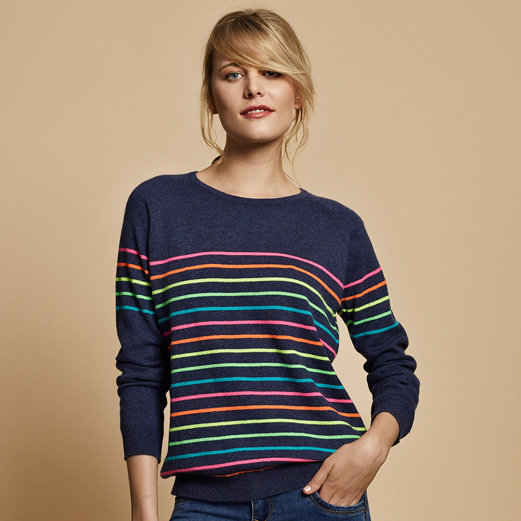 poppy cashmere jumper navy with neon stripes