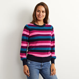 Georgia multi stripe cashmere jumper