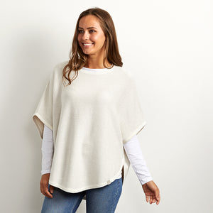 flora cream reversible cotton cashmere poncho