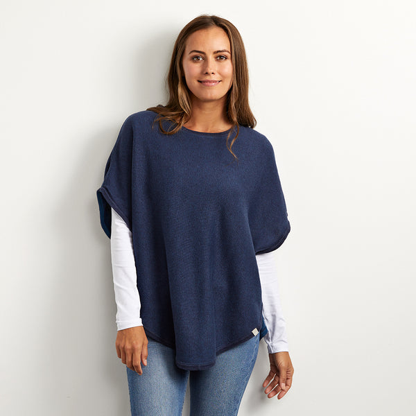 flora navy reversible cotton cashmere poncho