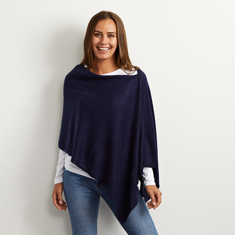 Lucy navy cashmere poncho
