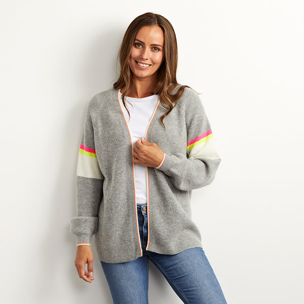 Chloe grey cardigan with neon stripes wool mix