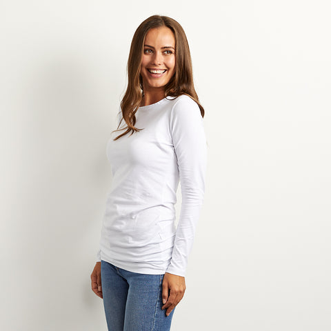 long length cotton white tee