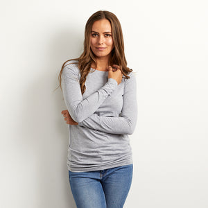 long length cotton grey tee