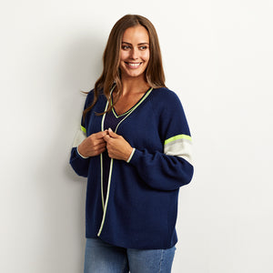 chloe navy cardigan with neon yellow trim