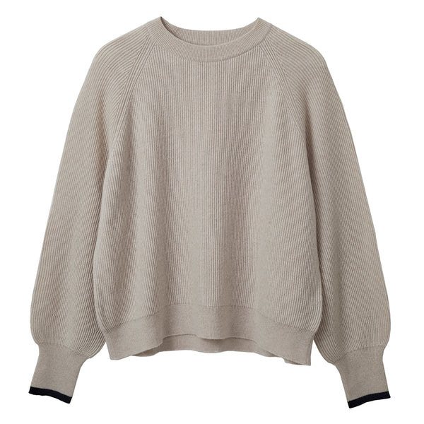 robina chunky knit wool cashmere jumper stone with black cuff