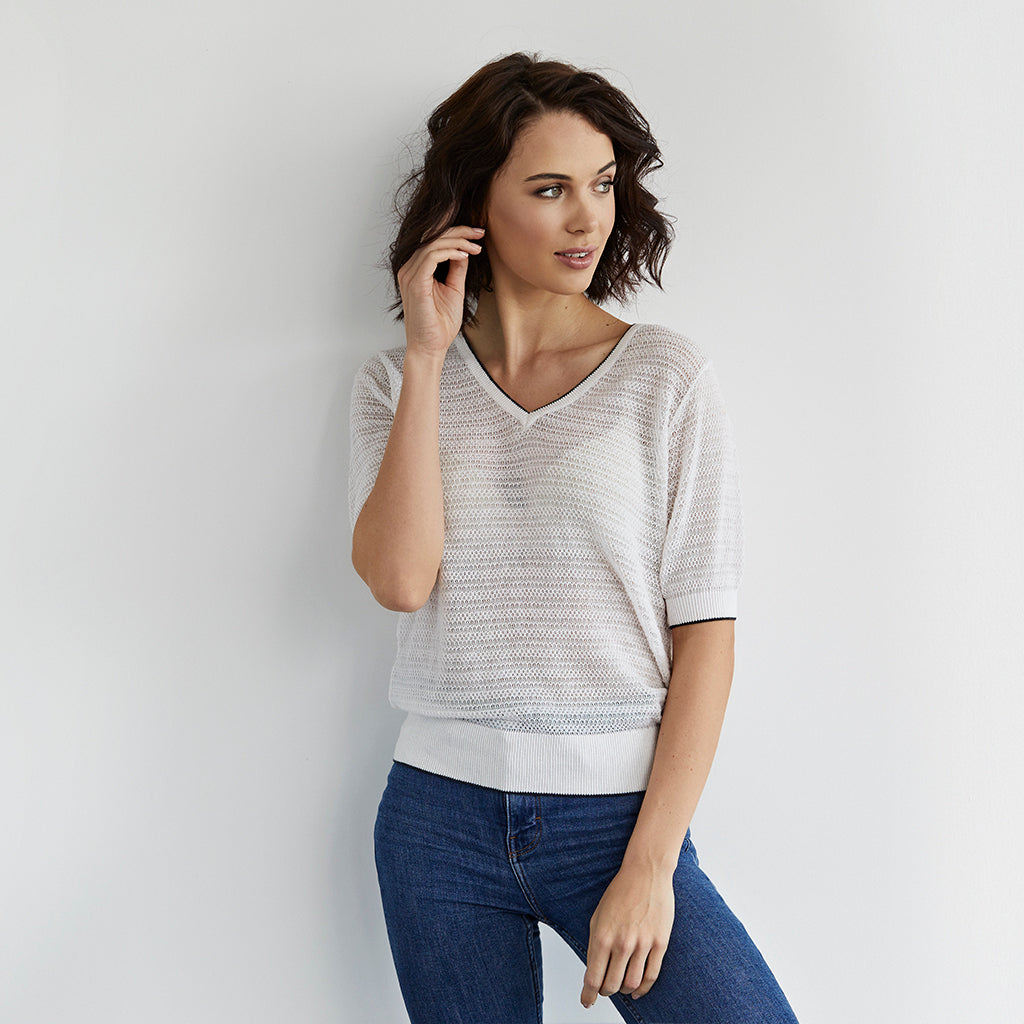 rose cotton cashmere sheer tee