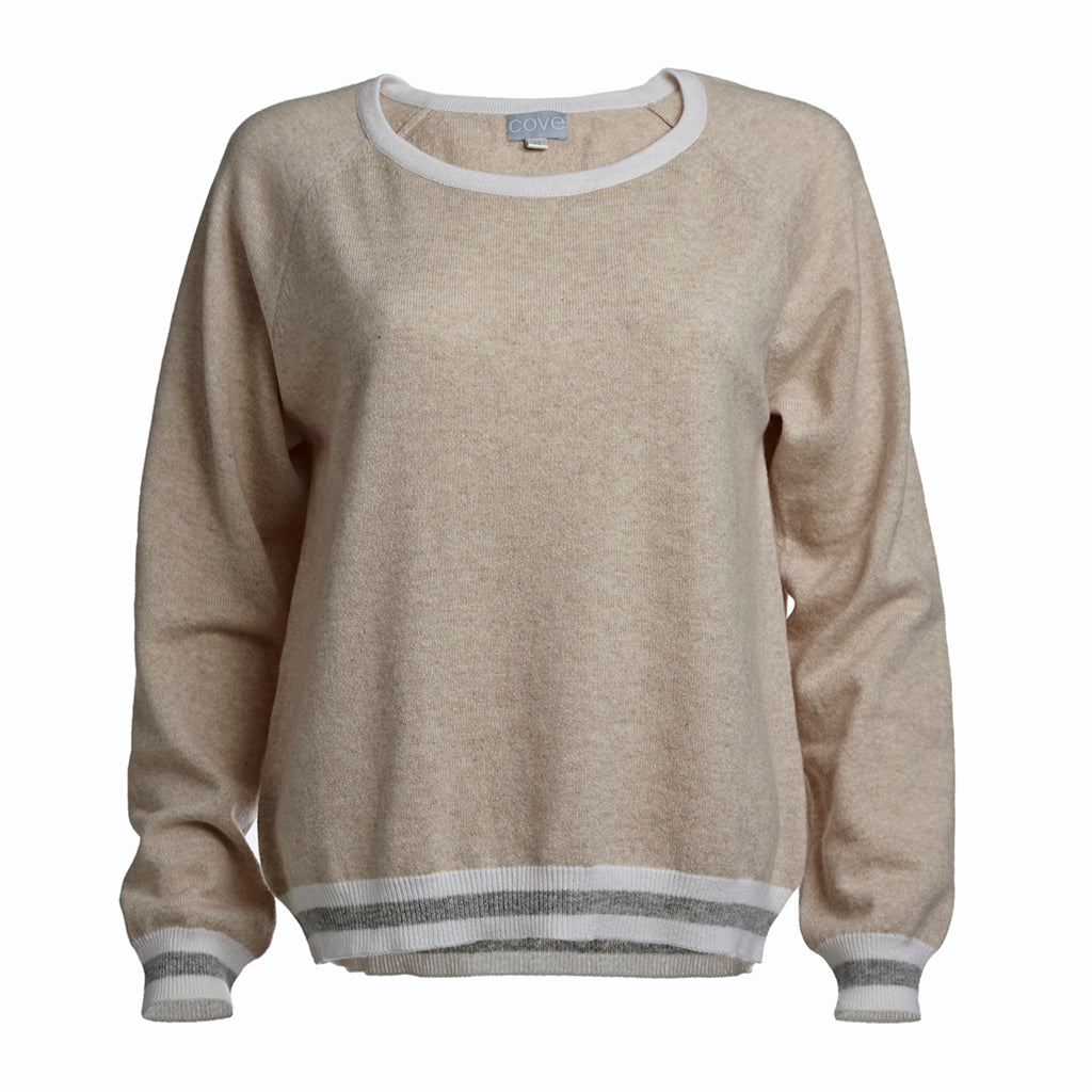 ronnie cashmere jumper beige with striped trim