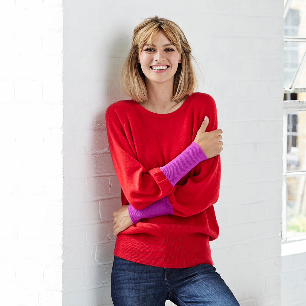 scarlet cashmere jumper red with purple cuff