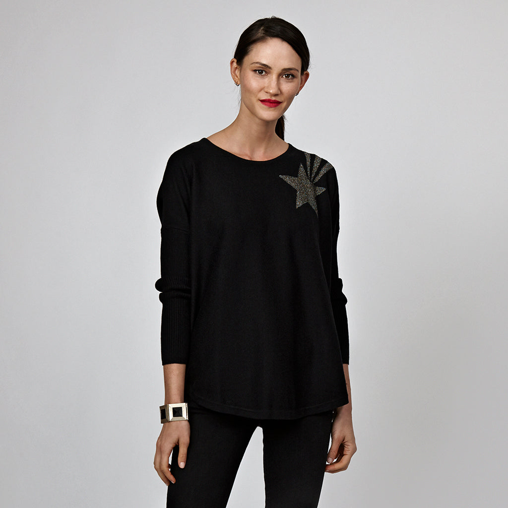 stella lux black jumper lurex shooting star