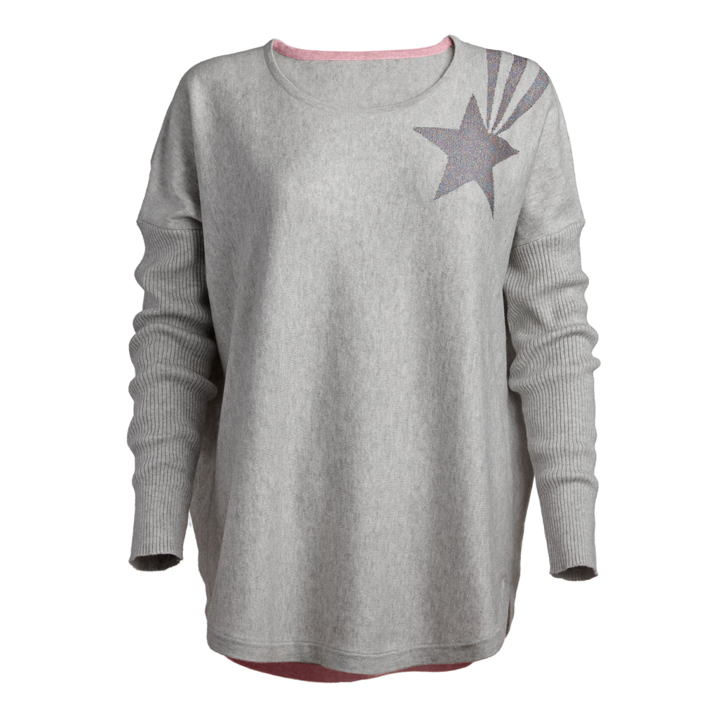 stella lux grey jumper lurex shooting star
