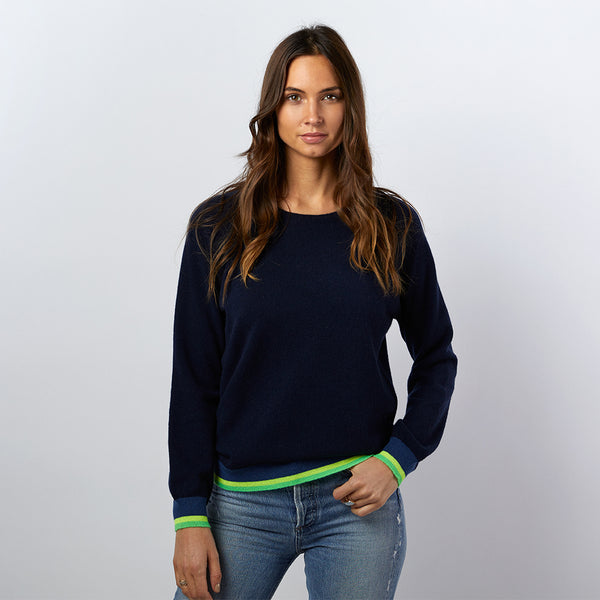 Cecilia cashmere jumper navy with neon stripes