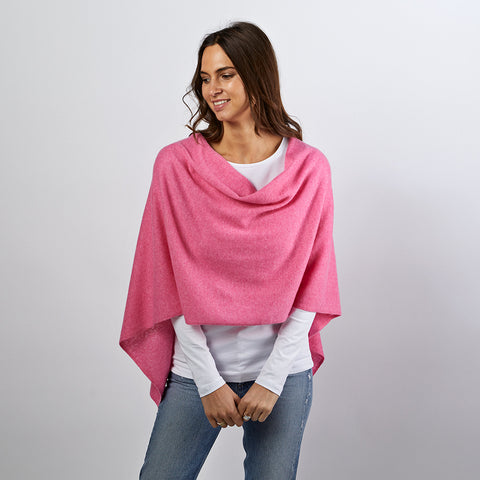 Lucy pink cashmere poncho