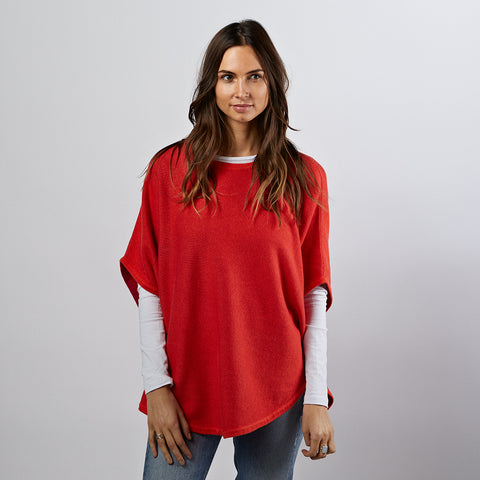 flora flame reversible cotton cashmere poncho