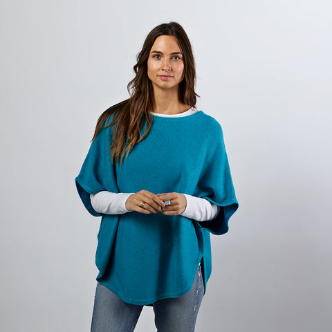 flora teal reversible cotton cashmere poncho