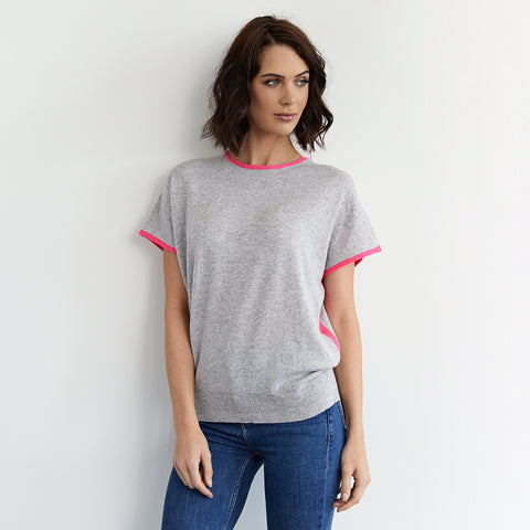 eva cashmere short sleeved jumper grey and pink
