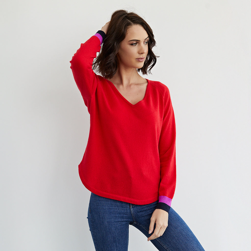 polly cashmere jumper red v neck with neon trim