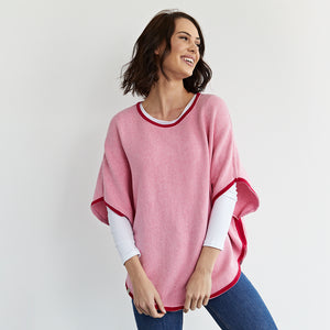 fliss reversible poncho pink lady and cranberry