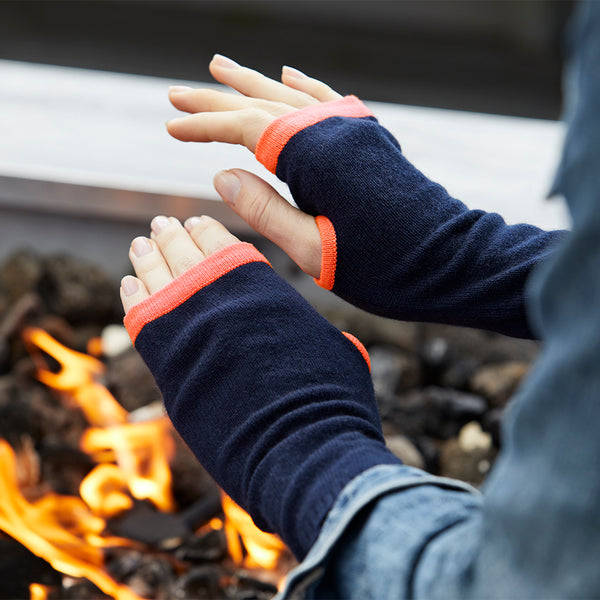 cashmere wrist warmers navy & neon orange
