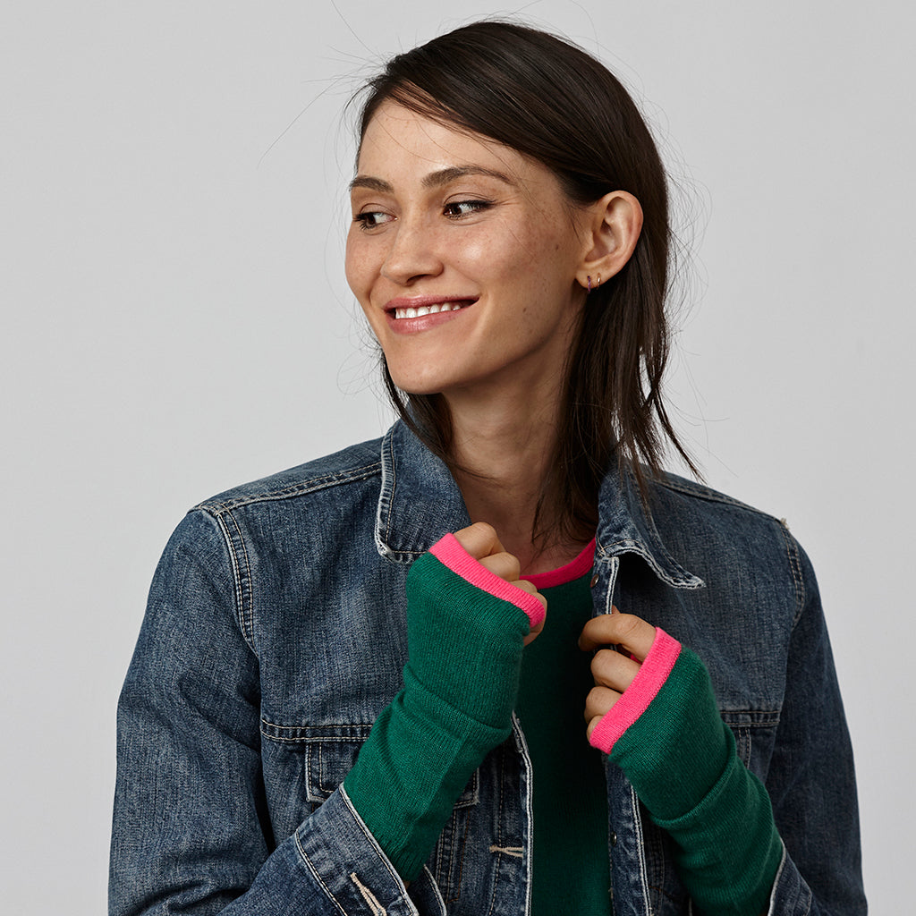 cashmere wrist warmers green and pink