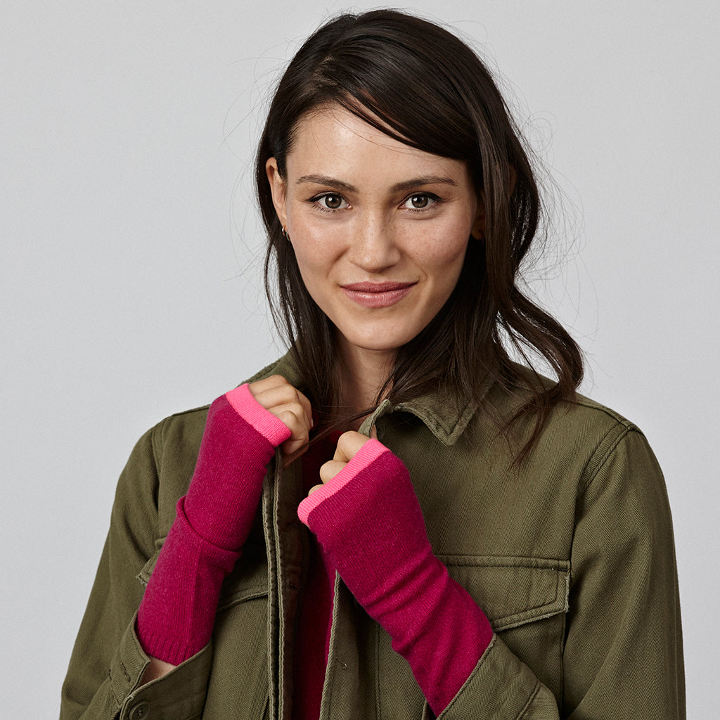 cashmere wrist warmers pink and pink