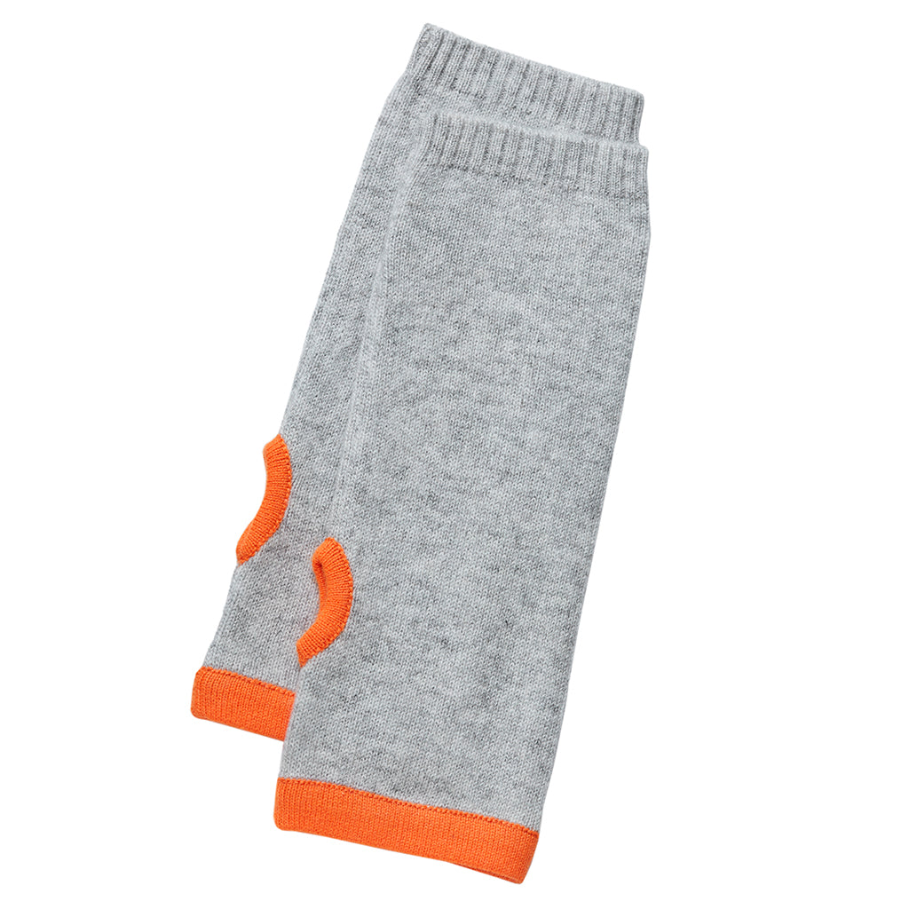 cashmere wrist warmers grey with orange trim