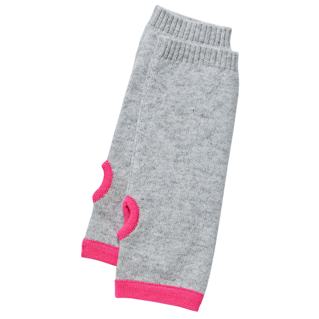 cashmere wrist warmers grey and pink