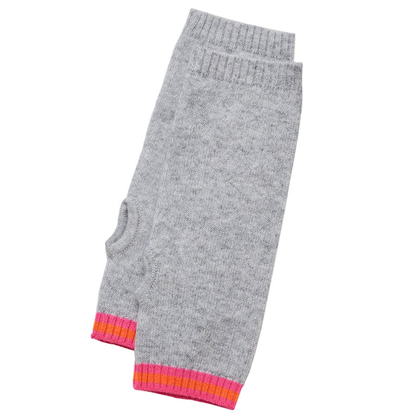 cashmere wrist warmers grey with philly trim