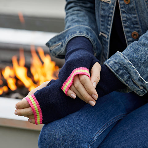 cashmere wrist warmers navy with philly trim