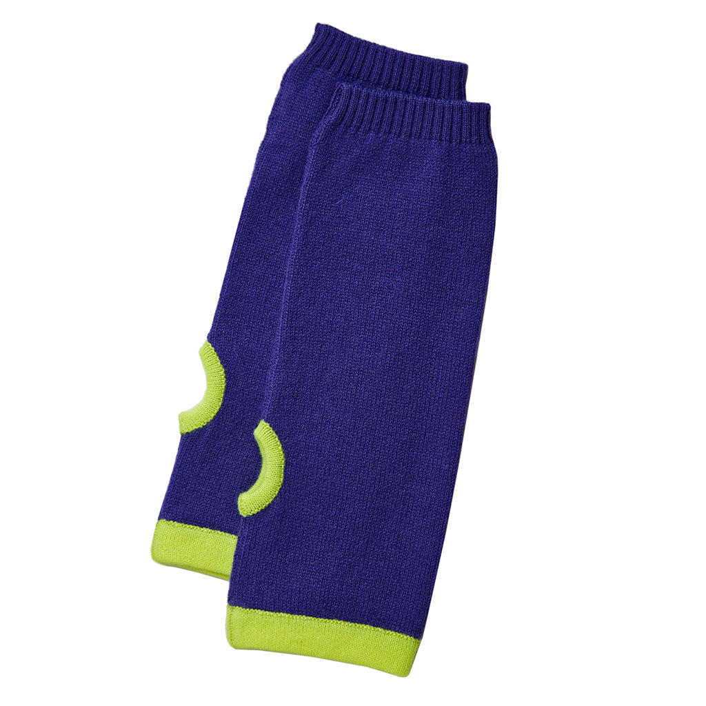 cashmere wrist warmers blue and yellow