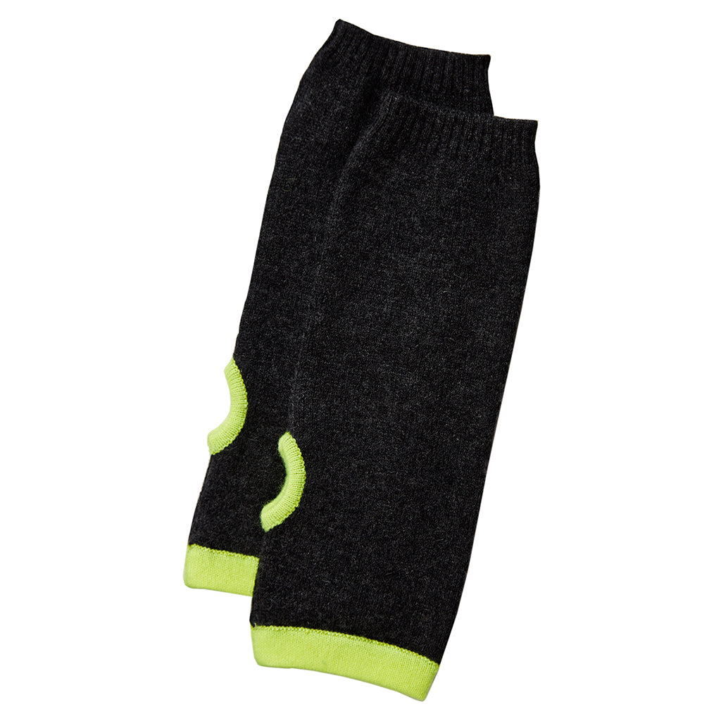 cashmere wrist warmers charcoal with yellow trim