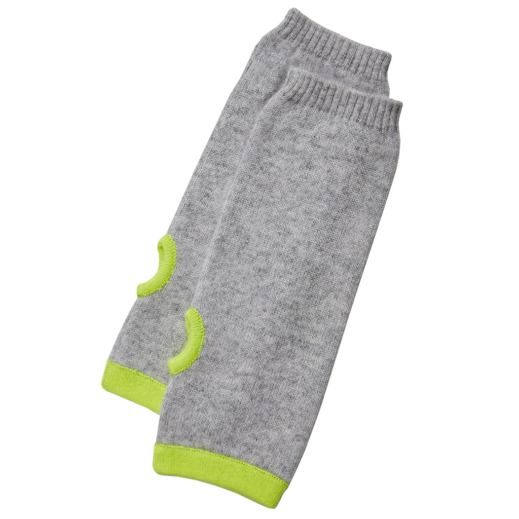 cashmere wrist warmers grey with yellow trim