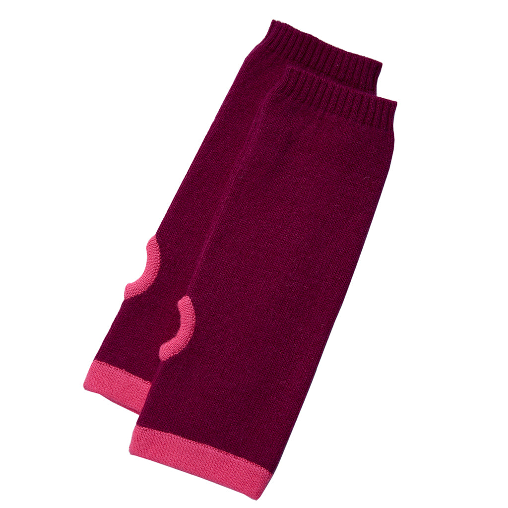cashmere wrist warmers pink with pink trim