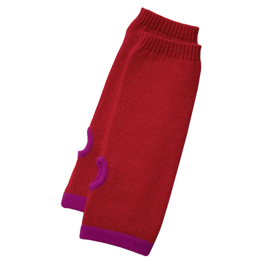 cashmere wrist warmers red with purple trim