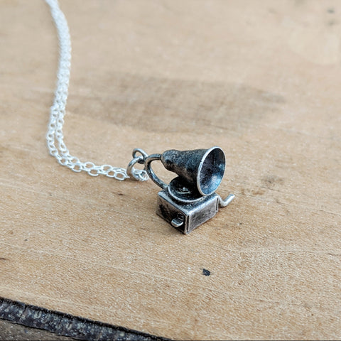Antique Gramophone Charm Necklace