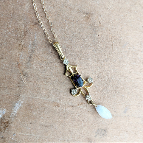 Antique 10k Gold Lavalier Necklace
