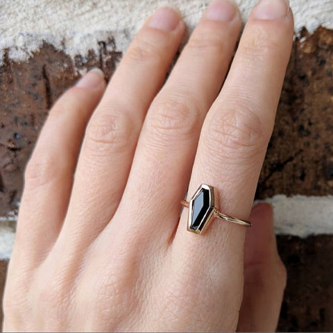 Onyx Coffin Ring